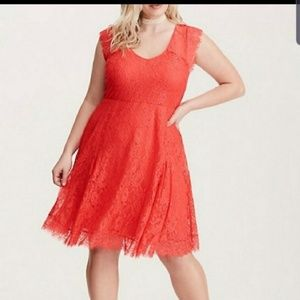 Torrid Size 1 Coral Skater V Neck Dress